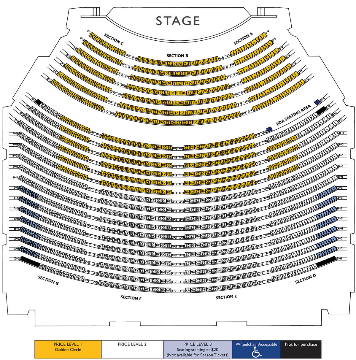 Picture of the Seating layout for the NIACC Auditorium