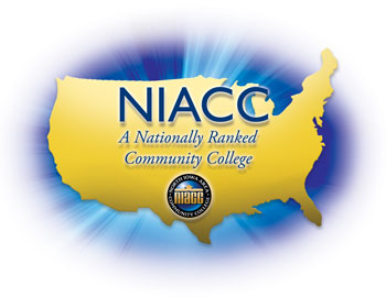 "Image of the United States and text ""NIACC A Nationally Ranked Community College"""