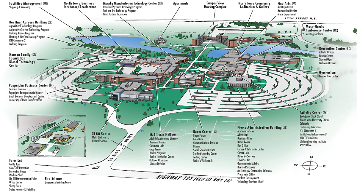 Graphic image of the NIACC Campus Map