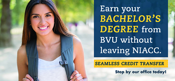 Picture of a student with caption - Earn your Bachelor's Degree from BVU without leaving NIACC