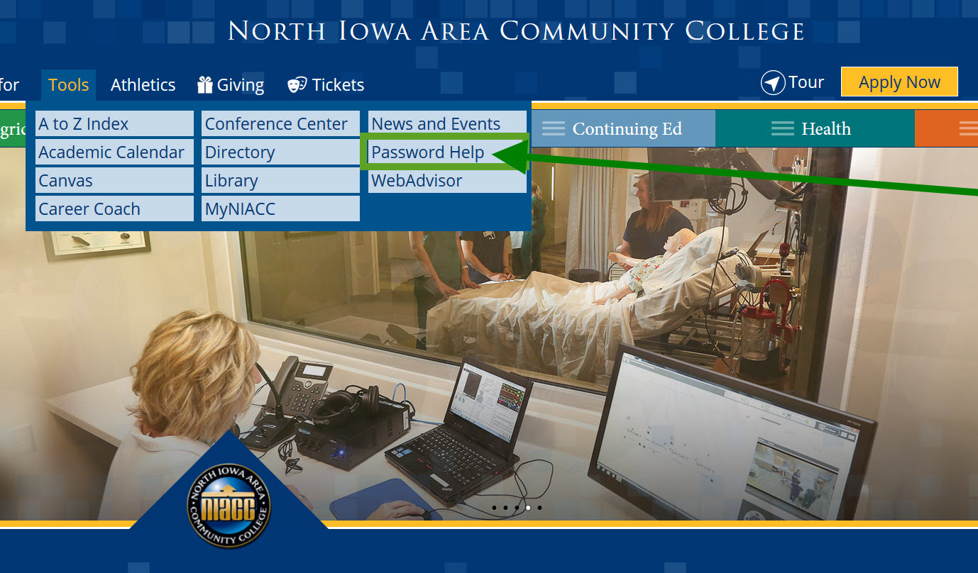 Picture of the NIACC homepage with the Tools menu open and Password Help highlighted