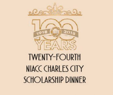 Graphic image of NIACC 100 year Anniversary logo with invitation to Charles City Scholarship Dinner