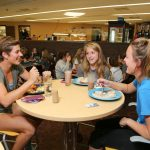 Picture of students eating in the cafeteria located in the Campus View Housing Complex