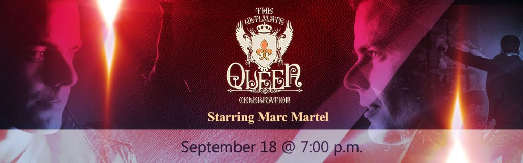 Graphic banner showing members from the tribute band The Ultimate Queen Celebration