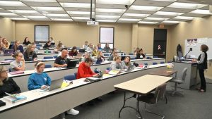 Photo of students in forum classroom in McAllister Hall