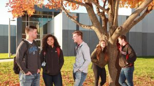 Photo of students outside of the STEM Center