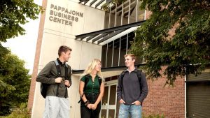 Photo of students outside of the Pappajohn Center