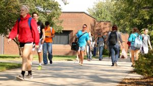 Photo of students walking outside of Careers Building
