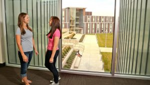 Photo of students in the Campus View Housing Complex