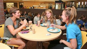 Photo of students eating in the Food Service area of the Campus View Housing complex