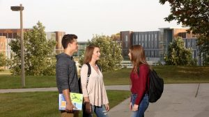 Photo of students chatting on campus