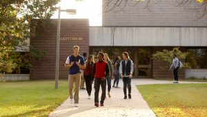 Photo of students exiting the NIACC Auditorium