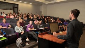 Photo of students in a Beem Center forum classroom