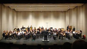 Photo of students performing an instrumental concert in the NIACC Auditorium