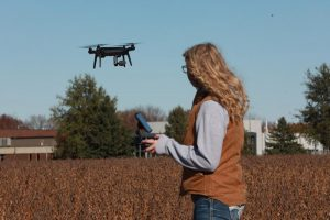 Picture of Ag student flying drone over field