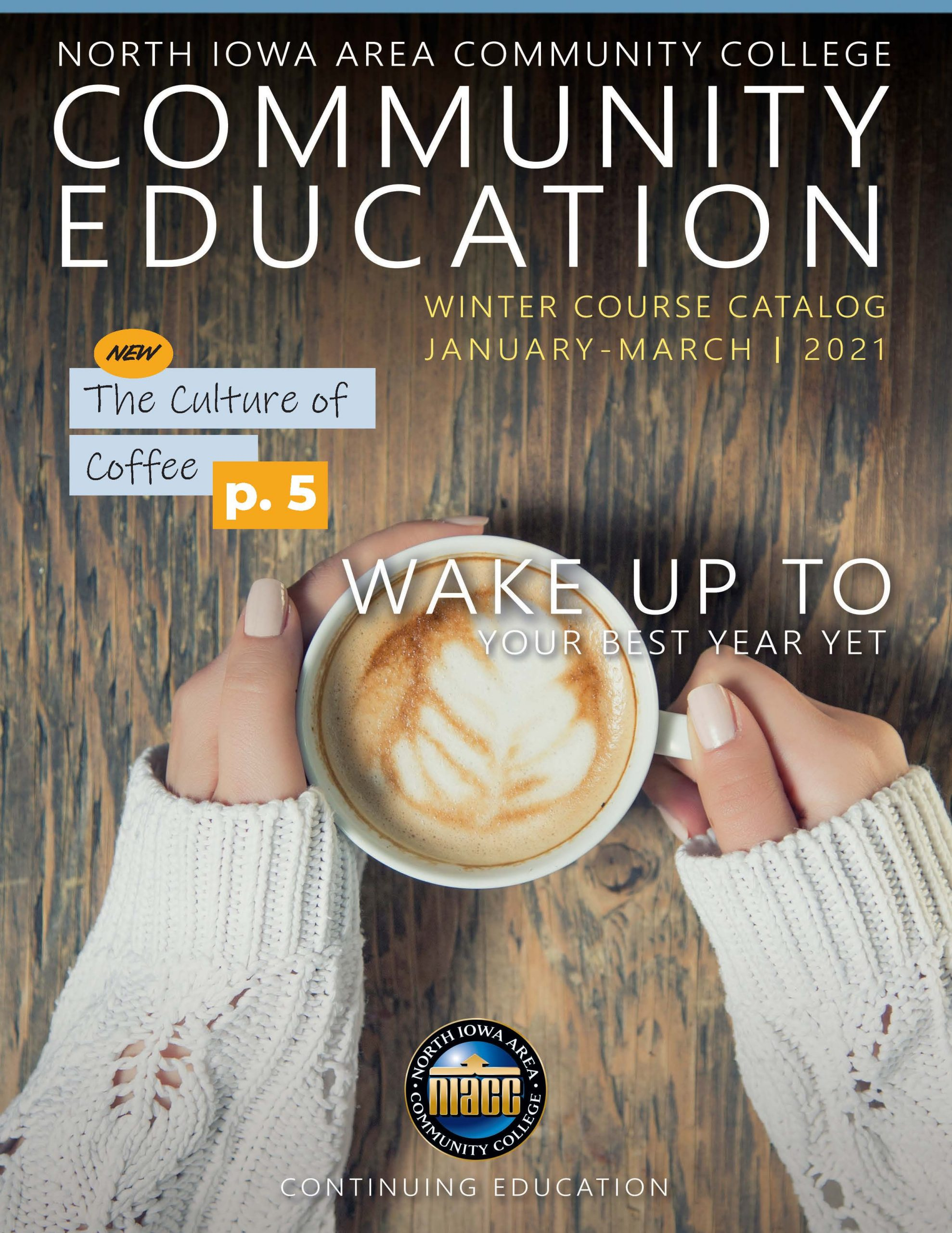 Graphic of the Community Education Winter 2021 magazine cover