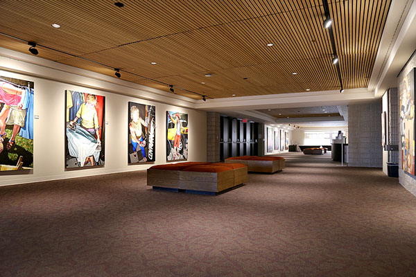 Photo of the meeting space in the Auditorium Gallery featuring artwork from rotating artists