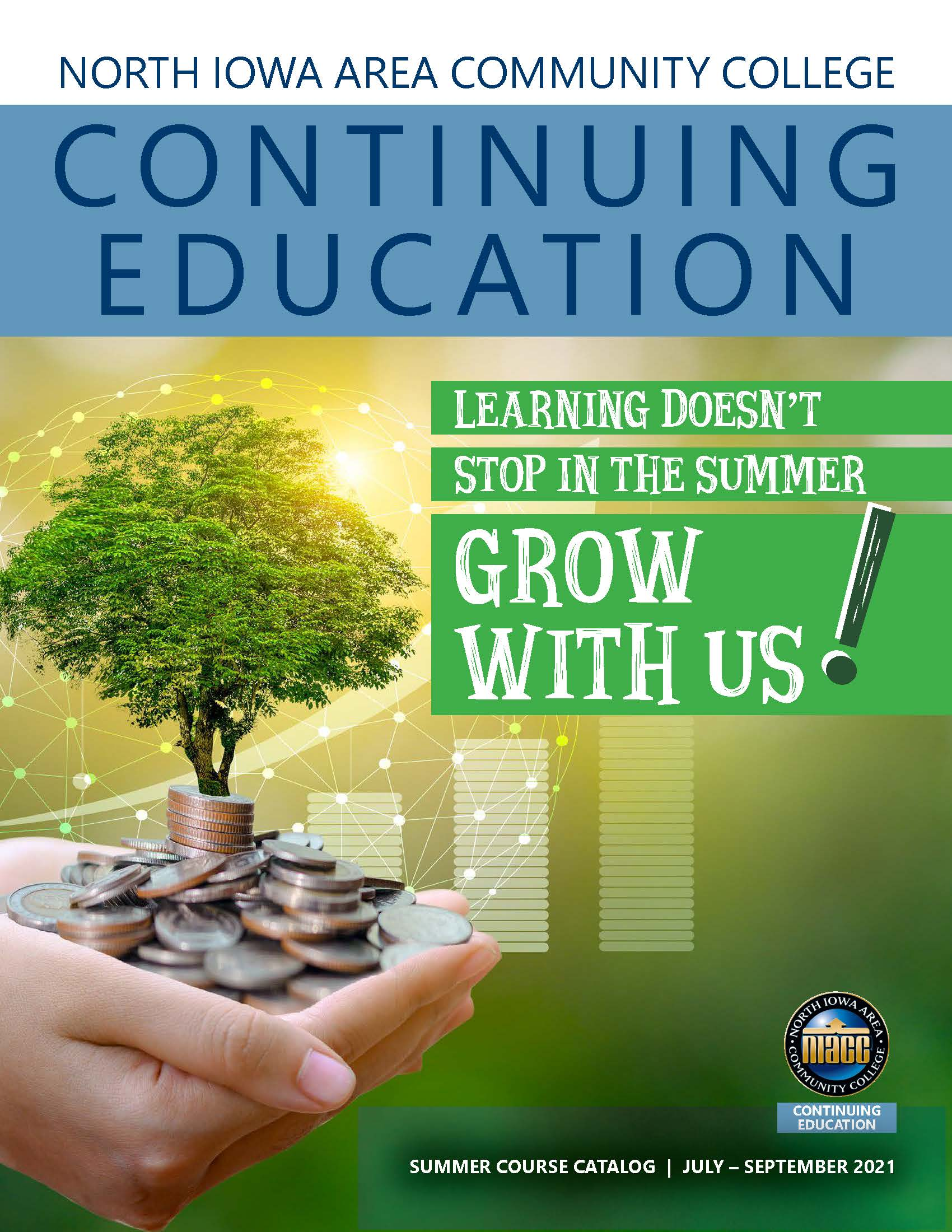 Graphic of the Community Education Summer 2021 magazine cover